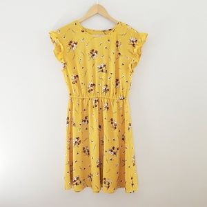2 for $20 LOFT yellow floral ruffle sleeve dress